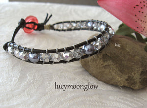 Crystal, Pearl and Leather Bracelet