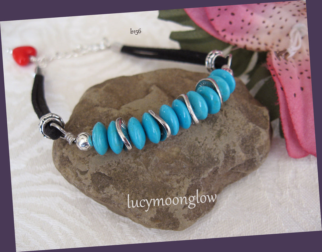 Turquoise and Suede Bracelet