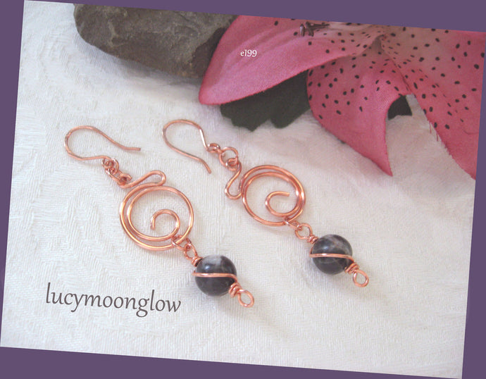Zebra Jasper Gemstone & Copper Earrings