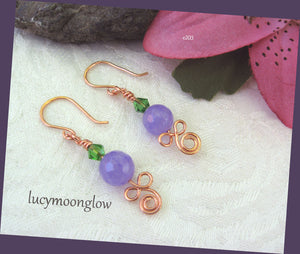 Purple Jade and Crystal Earrings