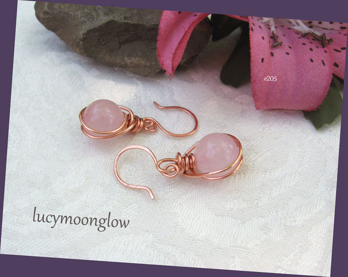 Wrapped Rose Quartz Gemstone Earrings