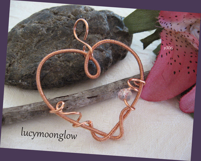 Copper Wire Wrapped Heart Necklace