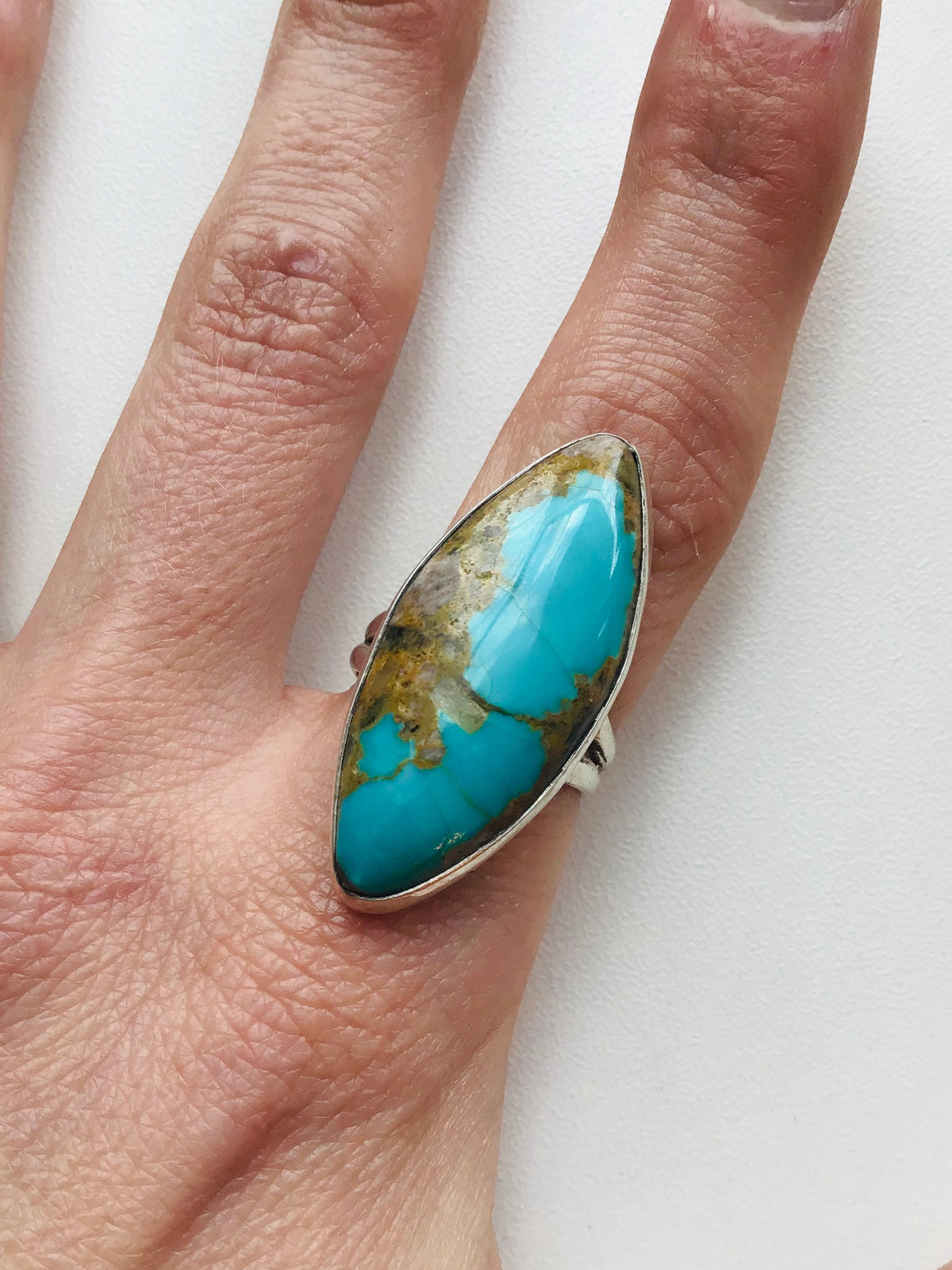 Cat Eye Kingman Turquoise Sterling Silver Ring by Richard
