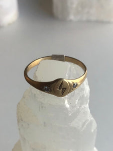 Littlest Lightning Bolt 14K Gold Ring by Daisy San Luis