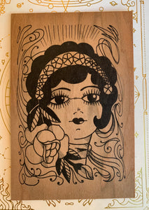 Painted Lady Wooden Postcard