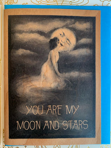 You Are My Moon and Stars Wooden Card