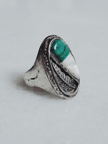 Vintage Turquoise and Mother of Pearl Sterling Silver Ring