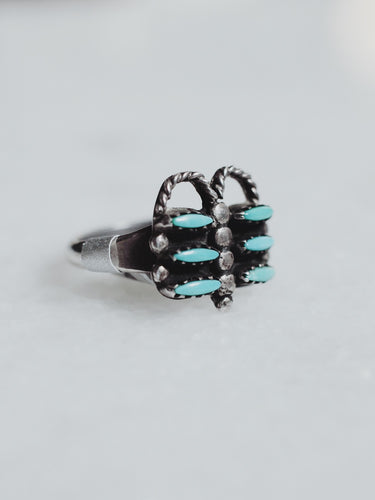 Vintage Zuni Turquoise and Sterling Silver Ring