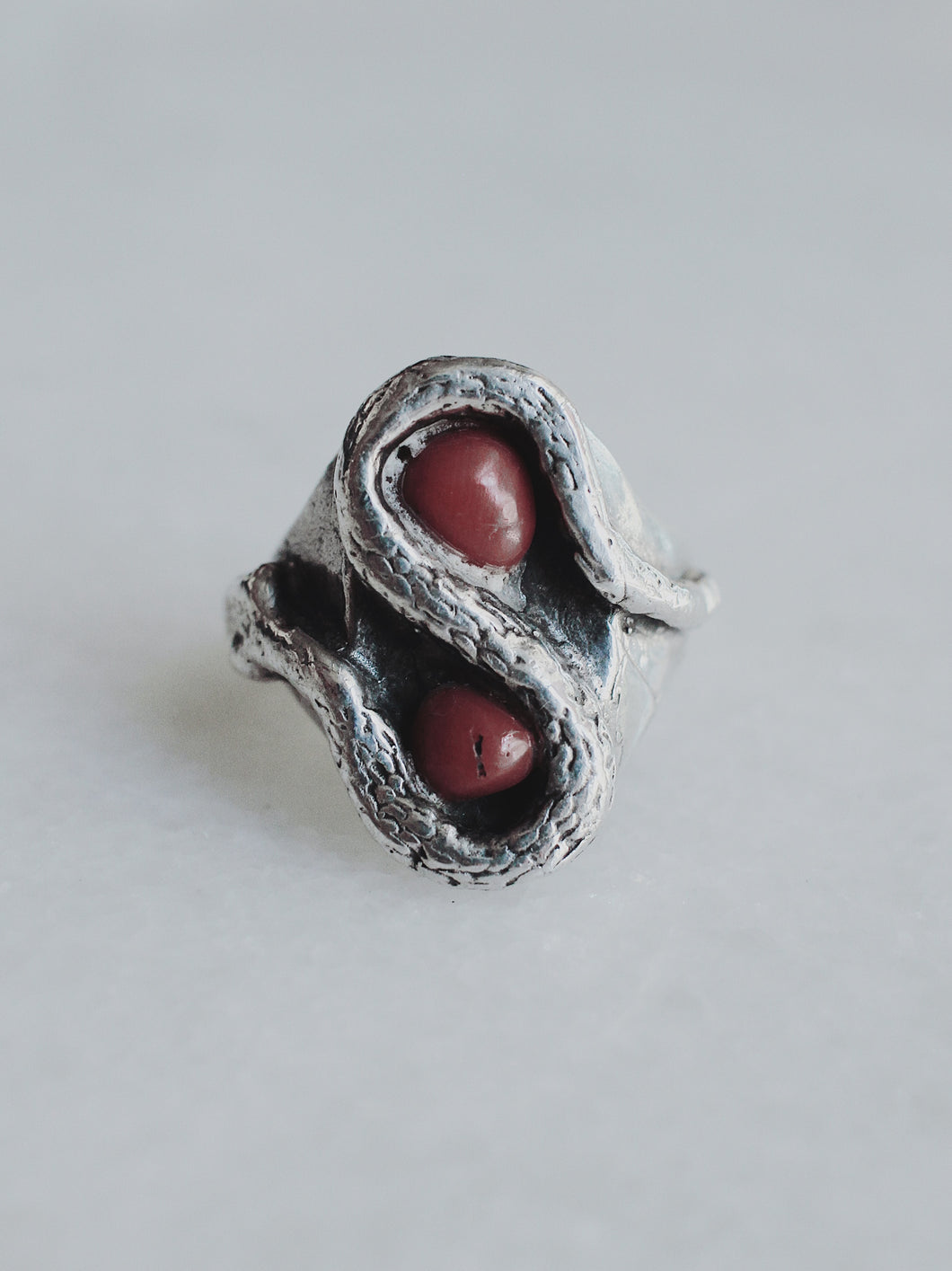 Vintage Coral and Sterling Silver Snake Ring