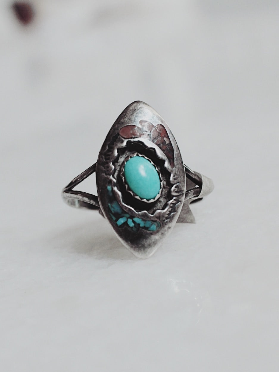 Vintage Turquoise and Sterling Silver Ring
