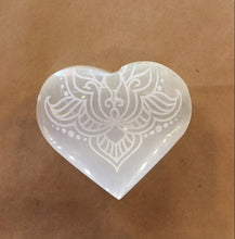 Load image into Gallery viewer, Etched Selenite Heart