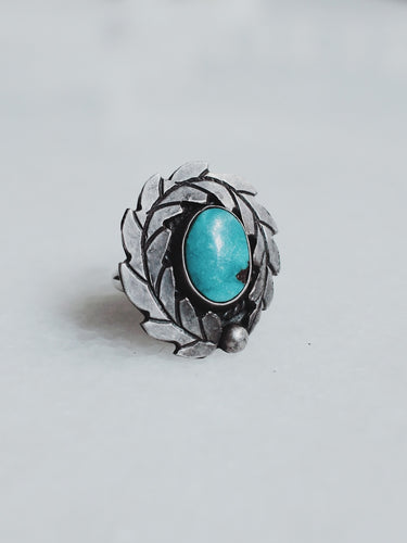 Vintage Turquoise and Sterling Silver Wreath Ring