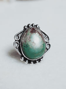 Vintage Green Turquoise and Sterling Silver Ring