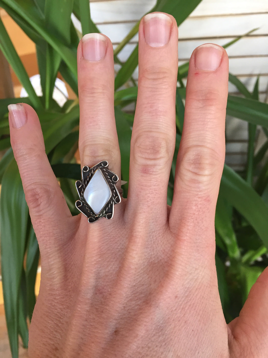 Vintage Mother of Pearl + Sterling Silver Ring