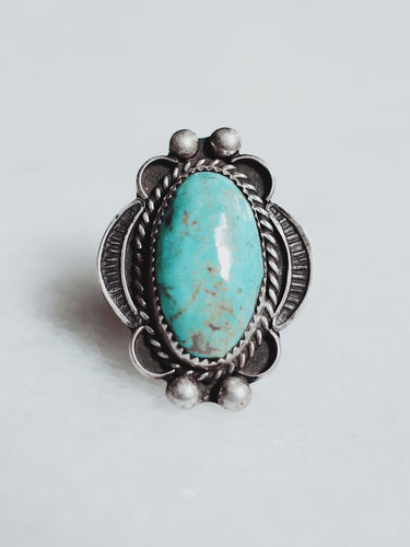 Vintage Kingman  Turquoise and Sterling Silver Ring