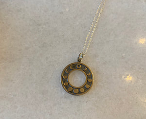 Moon Phases Circular Sterling Silver Necklace