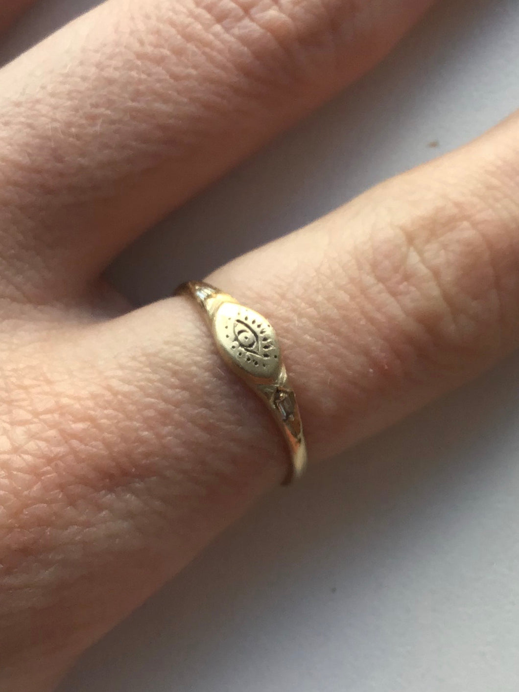 Littlest Eye Ring in 14K Gold by Daisy San Luis