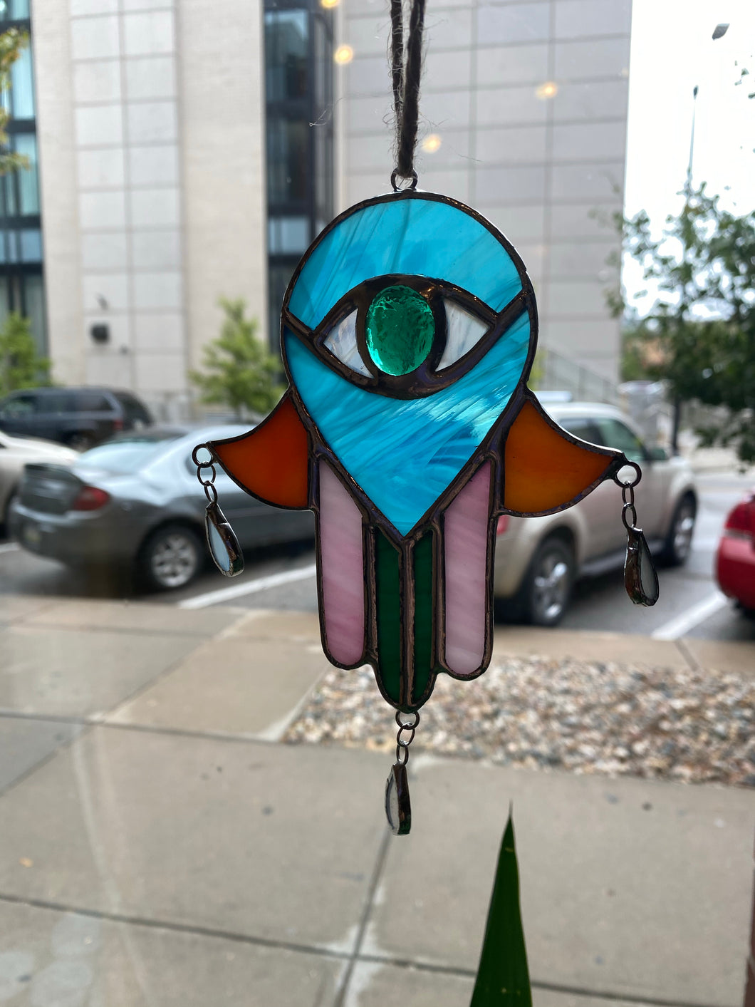 Hamsa Hand Stained Glass Window Hanging
