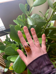 Triangle Silver Amber Ring