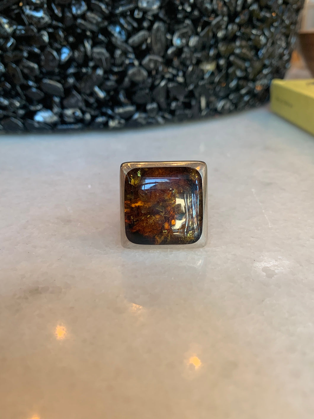 Square Amber Silver Ring