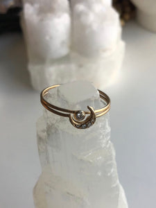 Harvest Moon Ring in 14K Gold w/ White Diamonds by Daisy San Luis