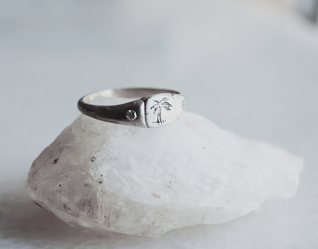 Littlest Palm Ring in Silver by Daisy San Luis