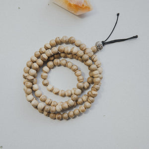 Agarwood meditation mala with silver buddha bead necklace