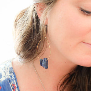 Triple Stone Lapis Lazuli Earrings