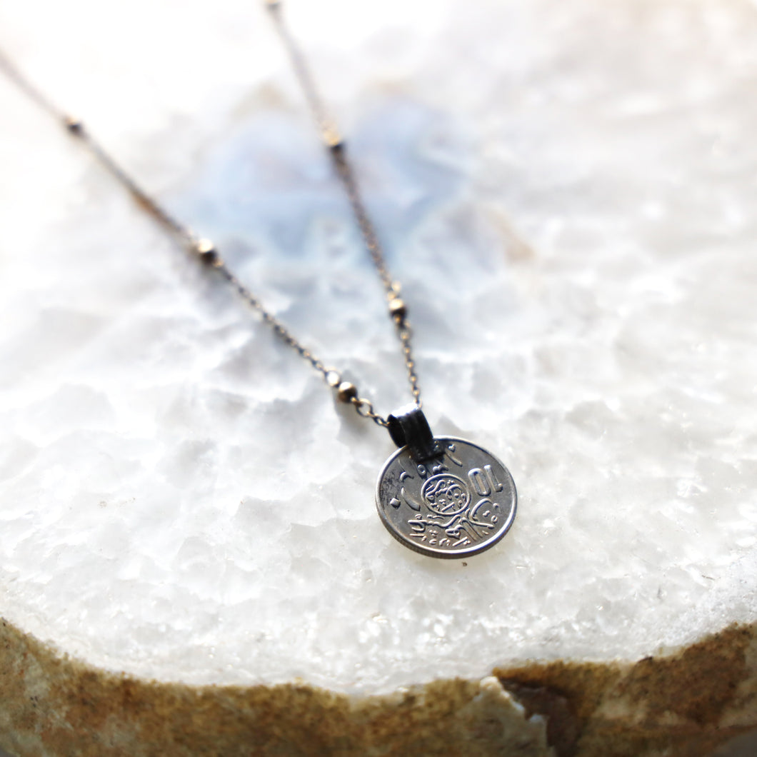 Vintage Coin Necklace with Brass Chain