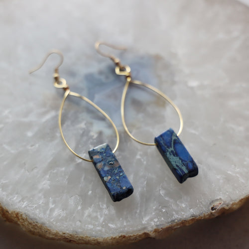 Blue Imperial Jasper Hoop Earrings
