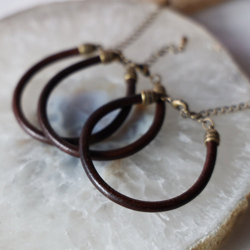 Brown Round Leather Bracelet | Adjustable