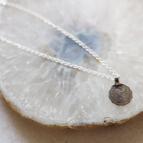 Vintage Coin Necklace | Silver Chain