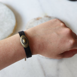 Black and Brass Double Leather Bracelet | Adjustable