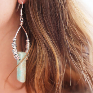 Light Green Gemstone Earrings