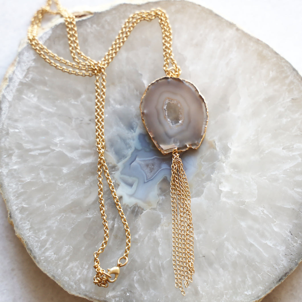 Gold Agate Necklace