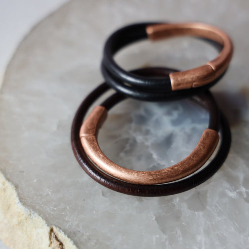 Double Wrap Leather Bracelet | Copper Clasp