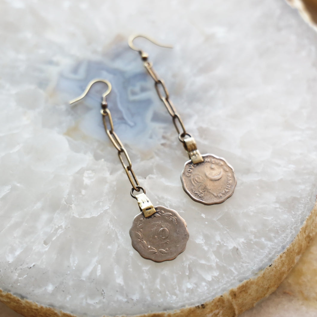 Vintage Coin Brass Earrings