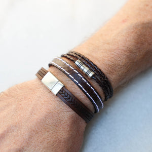 Triple Wrap Chocolate Brown Braided Leather Bracelet