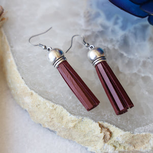 Genuine Leather Tassel Earrings | Burgundy