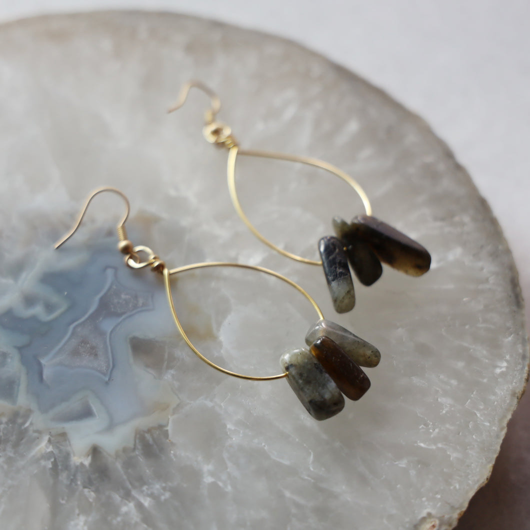 Triple Stone Labradorite Earrings