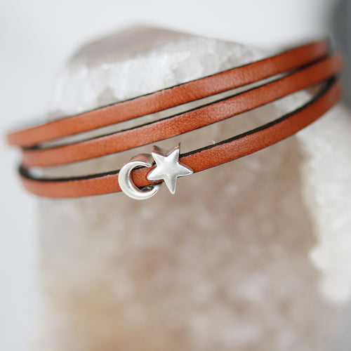 Moon and Stars Triple Wrap Leather Bracelet