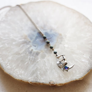 Moon and Lady Charm Drop Necklace