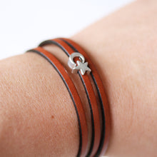 Load image into Gallery viewer, Moon and Stars Triple Wrap Leather Bracelet