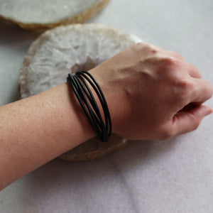 Black Leather Bracelet | Adjustable