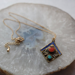 Brass Diamond Turquoise Necklace