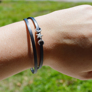 Waxing Waning Double Wrap Leather Bracelet