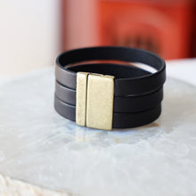 Load image into Gallery viewer, Genuine Black Leather Band with Brass Clasp  | Unisex