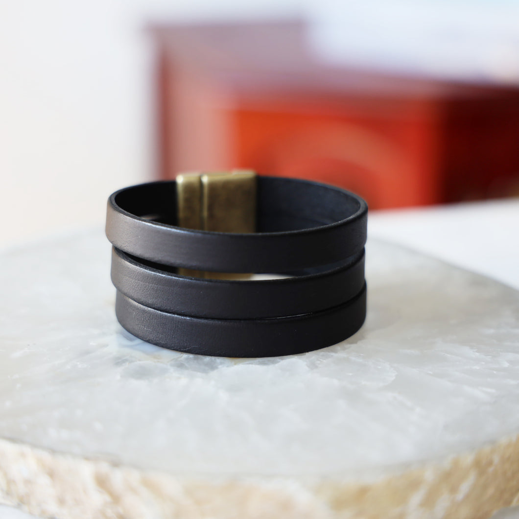 Genuine Black Leather Band with Brass Clasp  | Unisex