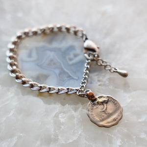 Vintage Coin Bracelet with Silver Chain