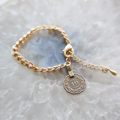 Vintage Coin Bracelet with Gold Chain